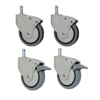 Caster Kit For Shower Chair, 3″, 7/16 X 1 1/4″ Grip Ring Stem
