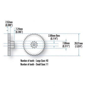 Bed Motor Gears, 40/11 Teeth