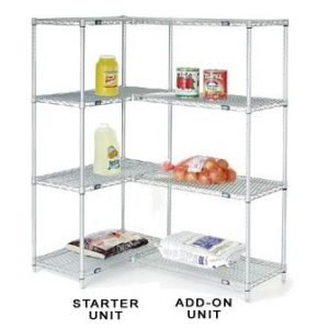 Nexel Add-On Shelving, 48 X 24 X 74, 4 Shelves, Nickel-Chrome Finish
