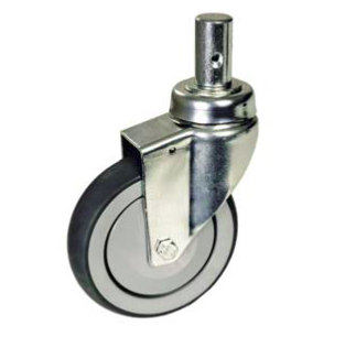 Bed Caster, Swivel With Round Rubber Tread/Plastic Thread Guard