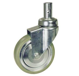 Bed Caster, Swivel With Square Rubber Tread/Chrome Guard